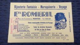 Buvard - Ets Romeril, 4 Place Du Commerce Nantes / Bijoux, Maroquinerie, Voyage - Carte Assorbenti