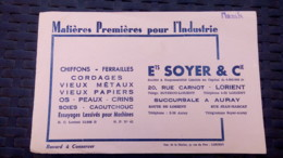 Buvard - Ets Soyer & Cie 20 Rue Carnot LORIENT - Succursale AURAY - Buvards, Protège-cahiers Illustrés