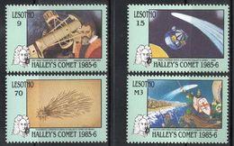 Lesotho, 1986 (#575-78a), Halley's Comet, Telescope, Galileo, NASA, Venus 2, Nuremburg Chronicle, William Of England - Astronomùia