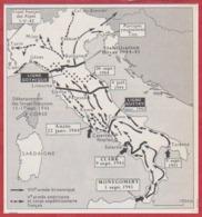 Carte De La Campagne D' 'Italie, 1943-1945. Seconde Guerre Mondiale. Larousse 1960. - Documents Historiques