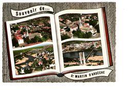 07 St Saint Martin D' Ardeche Souvenir Carte 4 Vues Livre Ouvert Eglise Vue Generale Moulin Pont CPSM GF - Other Municipalities