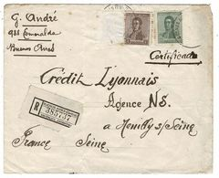 """Enveloppes 1 Avec Rare Vignette Française: """"Pour Les Droits De L'Homme""""expédiée D'Argentine 1922+1UE 1er HOMME Sur Lune - Fantasy Labels"""