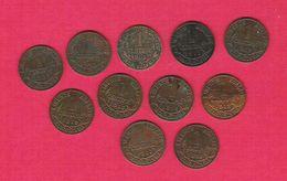 Monnaie Française Lot 11 Pièces 1 Centime Bronze Type Dupuis 10 Millésimes Différents G.90 - A. 1 Centime