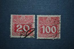 Autriche 1909 Timbres-taxe Y&T 39a + 43a (papier Mince) - Portomarken
