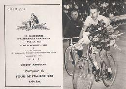 Jacques Anquetil  Tour De France 1963 Carte / Card - Cyclists - Cyclisme - Ciclismo -wielrennen - Cyclisme