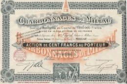 CHARBONNAGES DE MILLAU -ACTION DE 100 FRS - ANNEE 1922 - Mines