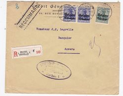 Besetzung Belgien R-Brief Mit MiF+Zensur - Occupation 1914-18