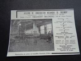 """Origineel Knipsel ( 4267 ) Uit Tijdschrift """" Brasseur """" :  Reclame  Publicité Tirlemont  Thienen  Tienen Brasserie Alken - Altri"""