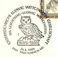7230  Hibou, Philosophie: Env. 1er Jour D'Autriche, 1989 - Owl FDCancel From Austria. Ludwig Wittgenstein Philosophy Log - Owls