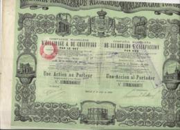 COMPAGNIE MADRILENE D'ECLAIRAGE ET DE CHAUFFAGE PAR LE GAZ -ACTION DE 500 FRS- ANNEE 1880 - Electricité & Gaz