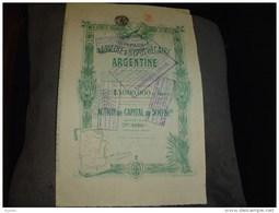 """Action""""Cie Agricole Et Hypothécaire Argentine""""1913 Sans Coupon Annulée. - Agriculture"""