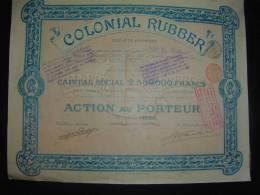 """Share Action """" Colonial Rubber """" 1898 Commerce Caoutchouc Scripophilie. - Industrie"""