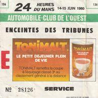 Billet D'entrée Aux 24H. Du Mans. - Voitures (Courses)