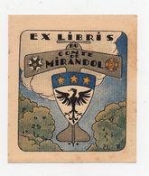 Ex-libris Héraldique COMTE DE MIRANDOL 9,7cm X 8,5cm - Ex Libris