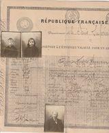 Passeport (XXL) Pour Se Rendre De Rouen En Belgique Et Pays Rhénans  Avec Photos, Timbre à Sec (60c.) Et Tampon De Lièg. - Vecchi Documenti