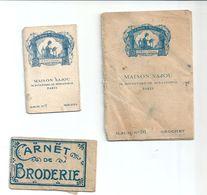 Petit Lot Broderie Crochet Marques Album N°91 Crochet N°7 Marques Maison Sajou Paris Et Carnet De Broderie - Vieux Papiers