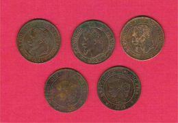 Monnaie Française Lot 5 Pièces Bronze 2 Centimes Napoléon III Lauré Et Ceres - France