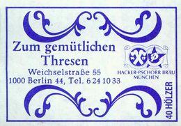 1 Altes Gasthausetikett, Zum Gemütlichen Thresen, 1000 Berlin 44, Weichselstraße 55 #856 - Matchbox Labels