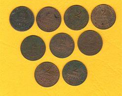 Monnaie Française Lot 9 Pièces Bronze 2 Centimes Dupuis G.107 Millésimes Divers Dont 1916 - France