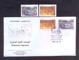 Tunisia/Tunisie 2020 - Rock Paintings : Djebel Ousselet (Oueslatia) - Djebel Bliji (Tamaghza) - FDC + Stamps 2v - MNH** - Tunisia