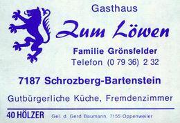 1 Altes Gasthausetikett, Gasthaus Zum Löwen, Familie Grönsfelder, 7187 Schrozberg-Bartenstein #857 - Matchbox Labels