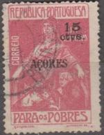 AÇORES-1915-1924 (IMP. POSTAL TELEG.) Para Os Pobres. Selos Cont. C/ Sobrec.«AÇORES»15 S/ 1 C. (Pap. Liso)  (o) Af. Nº 7 - Açores