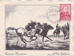 """""""CARRERA CUADRERA"""" A. DE LABBATA. GAUCHOS, JOSE HERNANDEZ. ARGENTINE CARTE POSTALE CIRCULEE ANNEE 1967 -LILHU - Argentinië"""