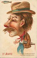 Themes Div-ref EE981 - Illustrateurs -illustrateur - Humour - Poisson D Avril - Le Poivrot - Carte Gaufrée - - Humor