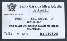 Bilhete Estacionamento No Parque Do Creiro, Portinho Da Arrábida Da Misericórdia De Azeitão. Car Parking Ticket Arrabida - Portugal