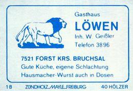 1 Altes Gasthausetikett, Gasthaus Löwen, Inh. W. Geißler, 7521 Forst Krs. Bruchsal #858 - Matchbox Labels