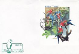 LOROS, PAPAGAYOS, PERROQUETS, PARROTS. CUBA FDC ENVELOPPE ANNNEE 2005 -LILHU - Perroquets & Tropicaux