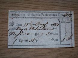Vrsac Versec 1801 Werschezer Salzamts Zahlungsboll Something To Pay For Banat - Documents Historiques