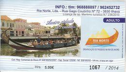 Ticket  D'une Promenade Sur Les Canaux à AVEIRO Au Portugal - Biglietti D'ingresso