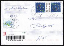 Clock Watch - 2004 Hungary European Union EU Expansion REGISTERED Label Vignette Cover Letter - Scilla Flower / BUGAC - Horlogerie