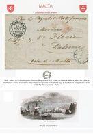 OS057 INCREDIBILE LETTERA ANNO 1849 COSTANTINOPOLI PALERMO DISINFETTATA A MALTA - 1. ...-1850 Prephilately
