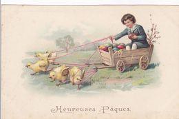 Cpa -illustrateur -attelage De Poules- Enfant Dans Un Chariot-heureuses Paques - Illustrateurs & Photographes