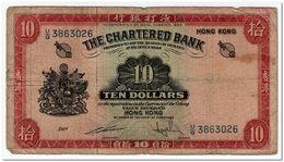 HONG KONG,10 DOLLARS,1962-70,P.70c,VG - Hongkong