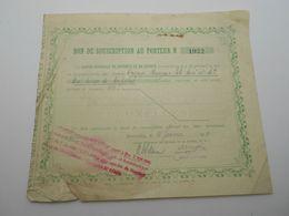 """Bon De Souscription Aux Actions """"Tissage Hauzeur Fils Ainé Et Cie""""  Caisse Generale De Report Et Depot Bruxelles 1923 - Textile"""