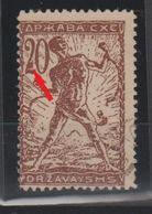 Yugoslavia Slovenia Verigarji (chainbreaker) 1919 - 1920 20 Vin Error - Number 2 With A Flag - 1919-1929 Kingdom Of Serbs, Croats And Slovenes
