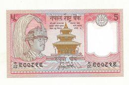 BILLET  NEUF NEPAL  5 ROUPEE  SUPERBE CRAQUANT. - Nepal