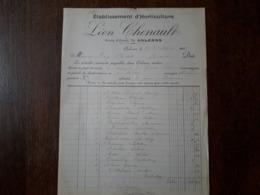 L15/97 Ancienne Facture. Orléans. Etablissement D'horticulture . Leon Chenault. 1903 - 1900 – 1949