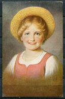 "CPA Color Künstlerkarte German Empires,DR1917 ""Young Girl,Junge Frau Mit  Sonnenhut,Land Girl  "" 1 AK Used - Illustrateurs & Photographes"