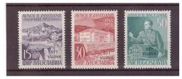 TRIESTE ZONA B 1953 - 10° ANNIV. PARLAMENTO JUGOSLAVIA. SERIE COMPLETA. SASS. 95/97. 97 PIEGA. NUOVI. MH* - Trieste