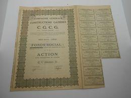 """Cie Genrale Des Constructions Gazières""""Gaz Liège 1928 ,reste Des Coupons. - Electricity & Gas"""