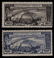 Russia / Sowjetunion 1946 - Mi-Nr. 1079-1080 ** - MNH - Dnjepr-Stauwerk - 1923-1991 USSR