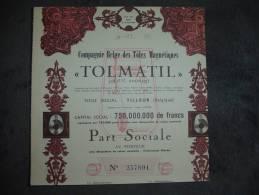 """Part Sociale""""Cie Belge Des Tôles Magnétiques Tolmatil"""" Tilleur 1957 - Industry"""