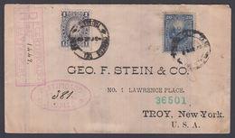 1888. PERU. 1 CENTAVO Sun + 20 C + 5 C On Back Defect On Cover To TROY, New York, USA... () - JF362272 - Pérou