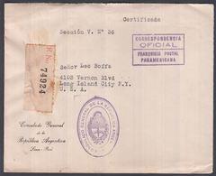 1941. PERU. Cover From CONSULADO GENERAL DE LA REPUBLICA ARGENTINA LIMA PERU To N.Y. ... () - JF362276 - Perú