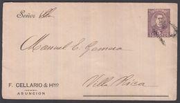 1898. PARAGUAY. Envelope 5 CENTAVOS Higino Uriarte Cancelled VILLA RICA 25 AGO 98. () - JF362286 - Paraguay
