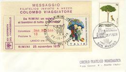 ITALIA 1979 - MESSAGGIO FILATELICO INVIATO A MEZZO COLOMBO VIAGGIATORE Su Busta SAN MARINO. - Transports